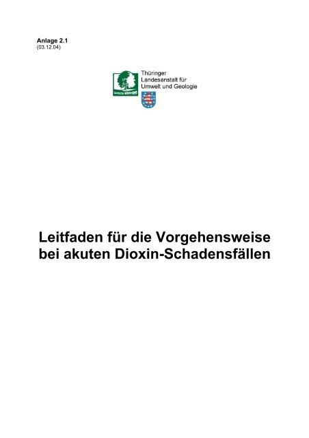 Leitfaden für die Vorgehensweise bei akuten Dioxin-Schadensfällen