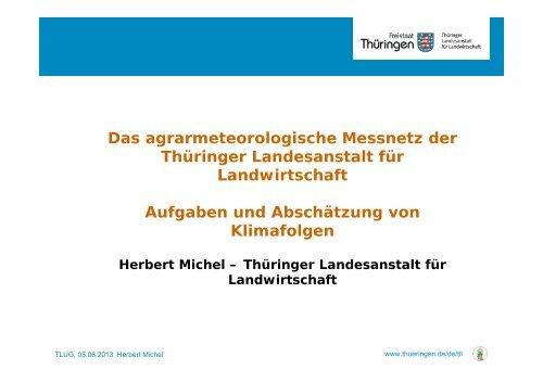 Das agrarmeteorologische Messnetz der Thüringer Landesanstalt ...