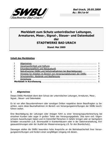 Merkblatt zum Schutz unterirdischer Leitungen und Armaturen