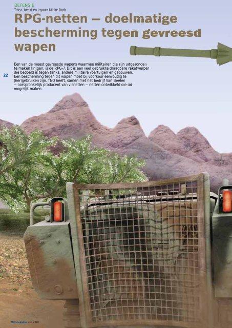 RPG-netten - doelmatige bescherming tegen gevreesd wapen - TNO