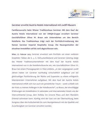 Gerstner erwirbt Austria Hotels International mit 12 ...
