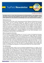 Newsletter vom 09.3.2011 - Top-Platz