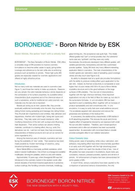 BORONEIGE® - Boron Nitride by ESK