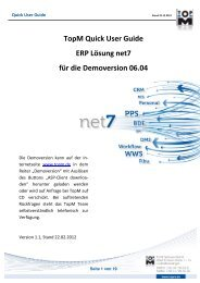 Quick User Guide net7 - TopM Software GmbH