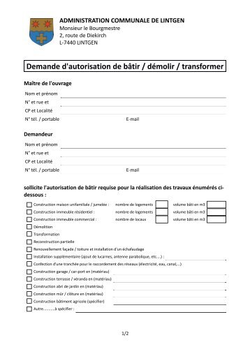 Demande d 39 autorisation de b tir d molir transformer for Autorisation de construction