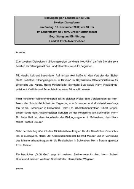 Bildungsregion Landkreis Neu-Ulm Zweites Dialogforum am Freitag ...