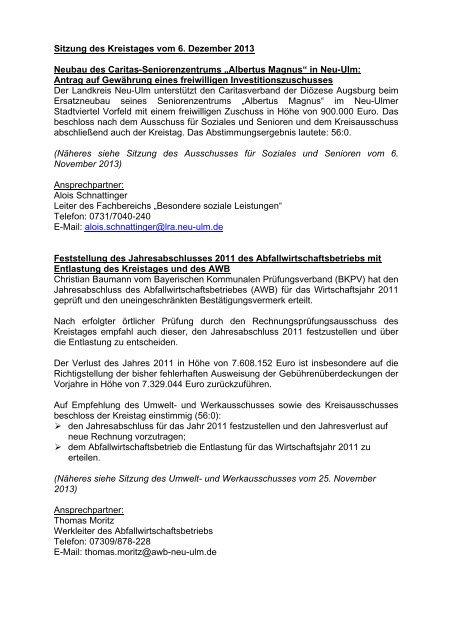 Sitzungsbericht 06.12.2013 - Landkreis Neu-Ulm