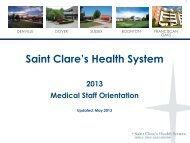 Medical Staff Orientation - Saint Clare's Hospital