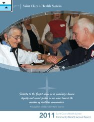 2011 Community Benefit Annual Report - Saint Clare's Hospital