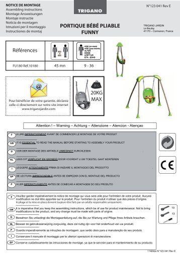 Trampoline notice user 39 s manual trampoline trigano for Plantes et jardins com catalogue