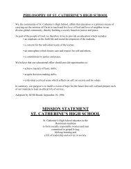 2012/13 SCHS Family Handbook - St. Catherine's High School
