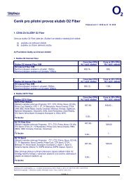 Ceník pro pilotní provoz služeb O2 Fiber