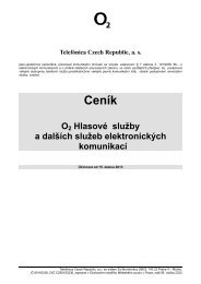 Ceník O2 Hlasové služby a dalších služeb elektronických komunikací