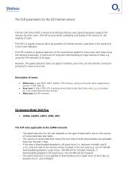 Parametry FUP u služby O2 Internet