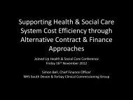 Developing a joined-up finance and contracting ... - Torbay Care Trust