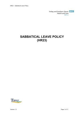 SABBATICAL LEAVE POLICY (HR23) - Torbay Care Trust