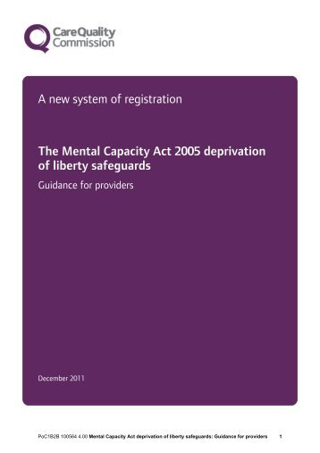 deprivation of liberty safeguards: Guidance for providers