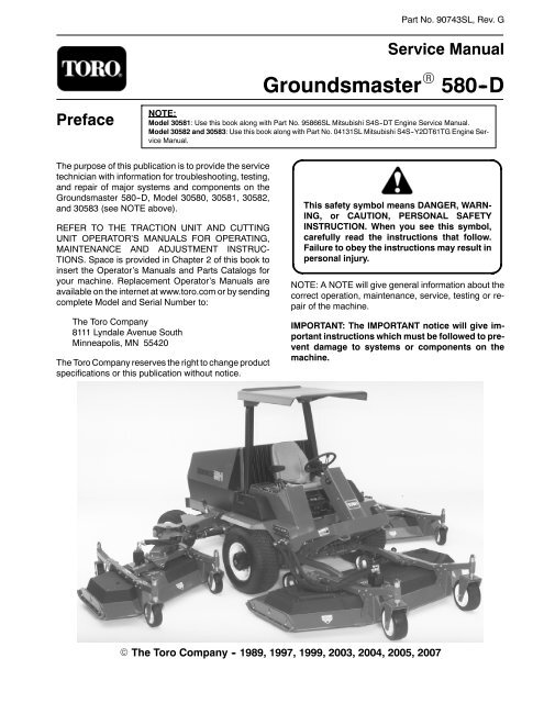Groundsmaster 580-D Service Manual - Toro