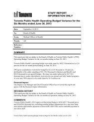 STAFF REPORT INFORMATION ONLY Toronto ... - City of Toronto