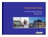 Runnymede Branch Presentation (PDF) - Toronto Public Library