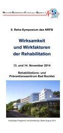 Wirksamkeit und Wirkfaktoren der Rehabilitation - 9. Reha-Symposium des NRFB im Rehazentrum Bad Bocklet