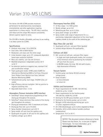 Varian 310-MS LC/MS - Agilent Technologies