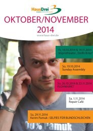 HausDrei Programmheft Oktober/November 2014