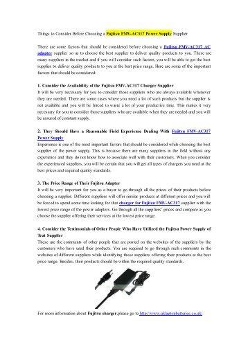 Things to Consider Before Choosing a Fujitsu FMV-AC317 Power Supply Supplier.pdf