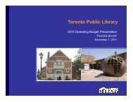Parkdale Branch Presentation (PDF) - Toronto Public Library