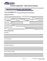 Volunteer Application Form (PDF Version) - Toronto Public Library
