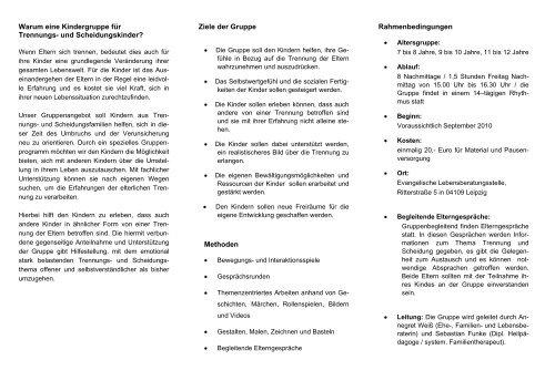 Warum eine Kindergruppe für Trennungs- und ... - Diakonie Leipzig