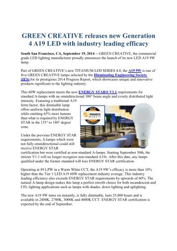 GREEN CREATIVE releases new Generation 4 A19 LED with industry leading efficacy