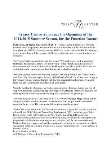 Treacy Centre Announce the Openning of the 2014/2015 Summer Season, for the Function Rooms