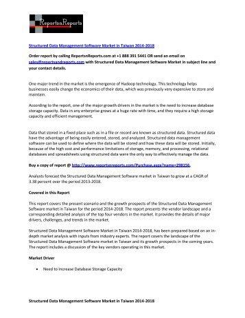 Global Structured Data Management Software Market 2014-2018