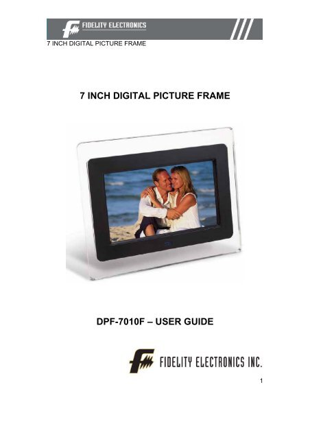 7 Inch Digital Picture Frame Dpf 7010f Fidelity Electronics