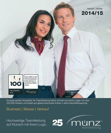 münz teamkleidung - Katalog Herbst | Winter 2014/15 - Business, Messe und Verkauf
