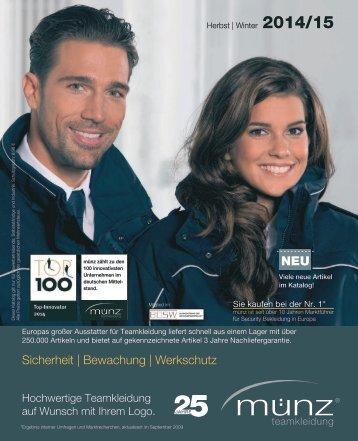 münz teamkleidung - Katalog Herbst | Winter 2014/15 - Sicherheit, Bewachung und Werkschutz