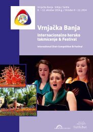 International Choir Competition and Festival Vrnjačka Banja 2014 - Program Book