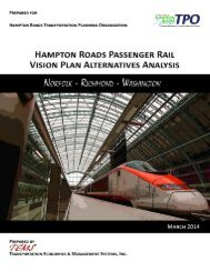 Hampton Roads Passenger Rail Vision Plan Alternatives Analysis --Final Report