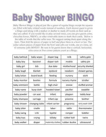 baby shower bingo is played just like a game of regular baby