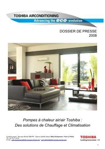 Pompes à chaleur air/air Toshiba : Des solutions de Chauffage et ...