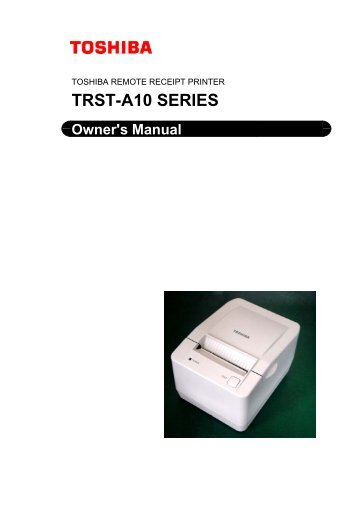 TRST-A10 Owner's Manual - TOSHIBA TEC Canada