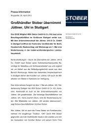 Großhändler Stober übernimmt Jüttner, Uhl in Stuttgart