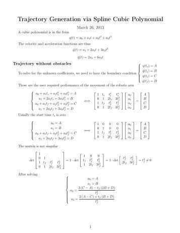 Trajectory Generation via Spline Cubic Polynomial