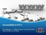 Accessibility to ICT's