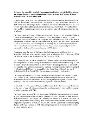 Ruling on the appeal by KenCell Communications Limited (now ...