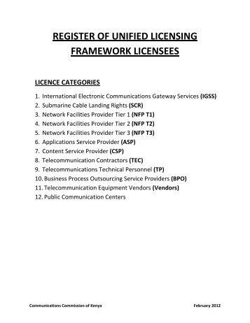 Register of ULF Licensees - Communications Commission of Kenya