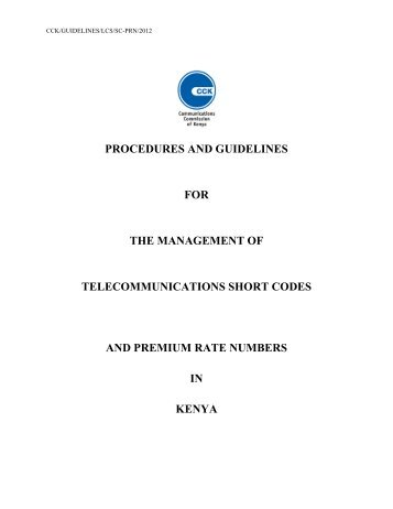 Draft Management Procedures & Guidelines on Short Code