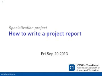 How To Write A Project Report Ntnu