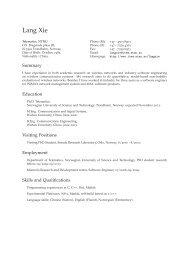Lang Xie: Curriculum Vitae - Department of Telematics - NTNU